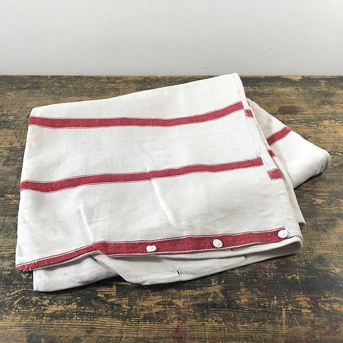 Antique red and off white stripe mattress cover