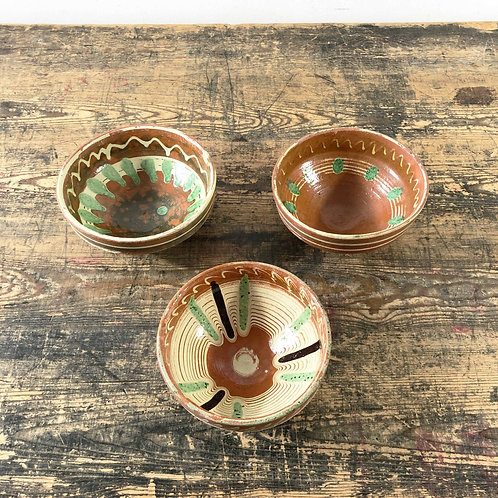 Vintage Rustic Hand Painted Combed Glazed Clay Bowl
