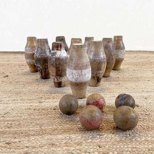 Antique Set of Wooden Skittles England. 19th Century