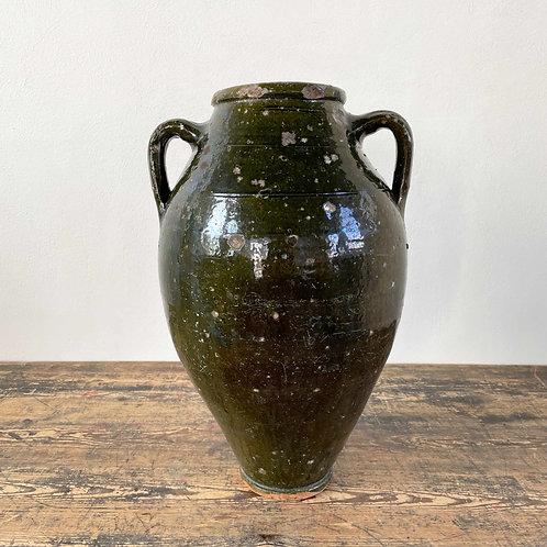Antique Rustic Green Glazed Storage Pot Mediterranean C1800