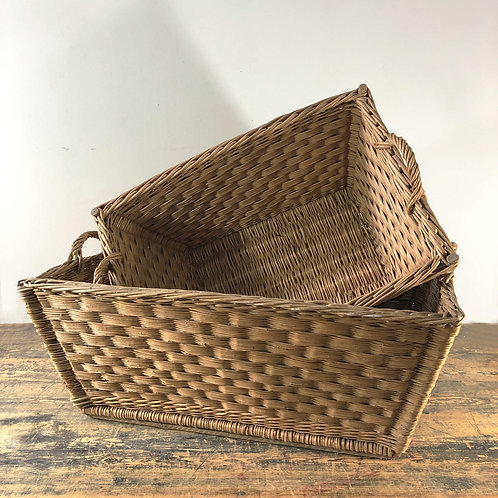 Vintage Wicker Rectangular Baskets Germany C1950