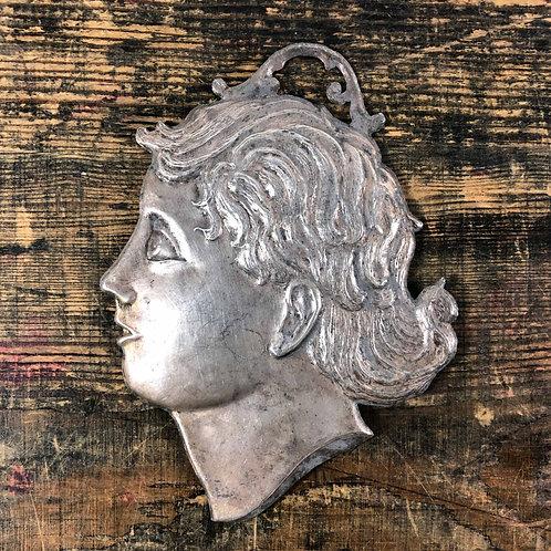 An antique silver Italian Ex voto girls head