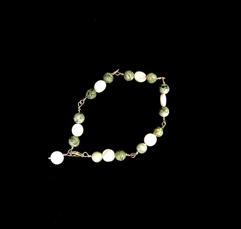 Mariposite Bracelet with round beads and white stones