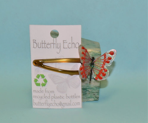 Butterfly Clip Single - Red/Silver Fantasy - Small