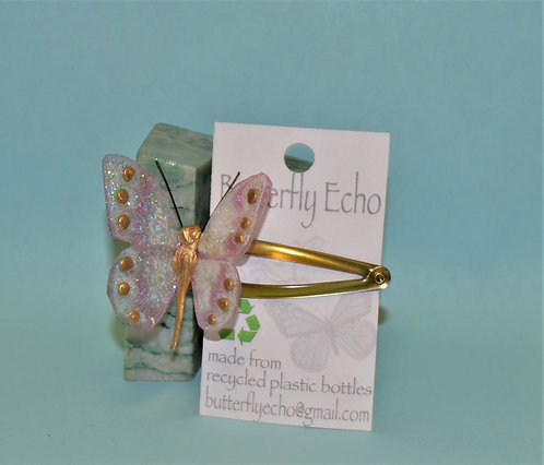 Butterfly Hair Clip -  Single - Pink & Gold Fantasy