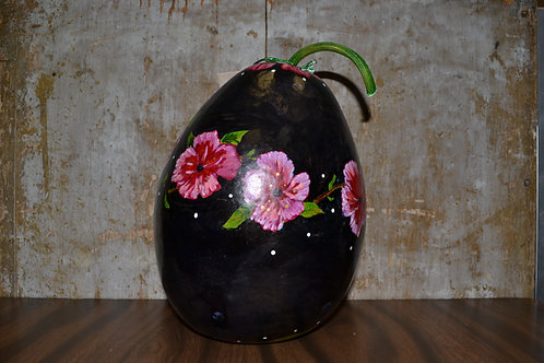 Fuschia Peonies on Black Painted Gourd