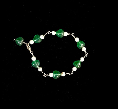 Mariposite Bracelet with Green Hearts & White Stone