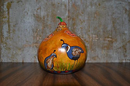 Mariposa Quail & Poppies Painted Gourd