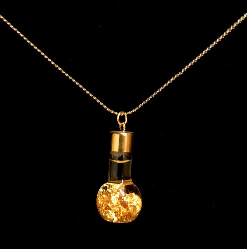 "Gold Leaf Pendant - Gobe - 18"" Gold Plated Chain"