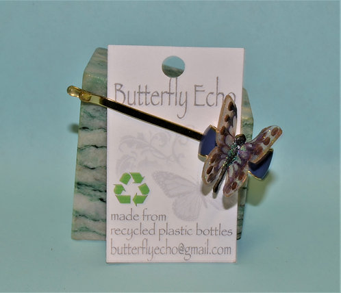 Butterfly Hair Clip -  Single - Purple/Copper Fantasy - Small