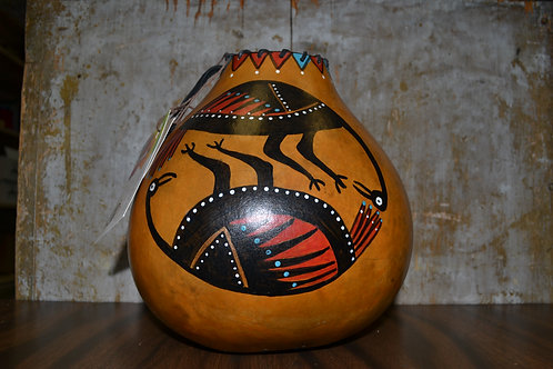 Circle of Birds Painted Gourd Vase