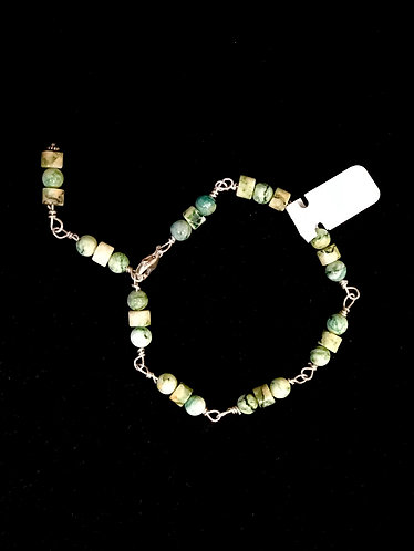Mariposite Bracelet with Small Cylinder Beads