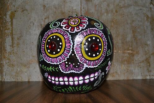 Black & Pink Sugar Skull Painted Gourd