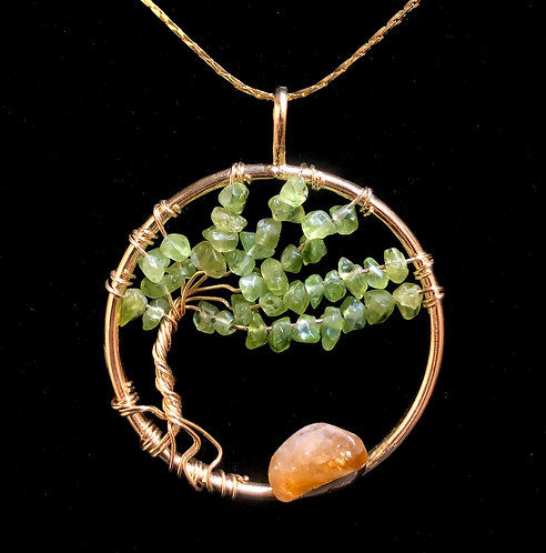 "Tree of Life Pendent, Peridot Green Stone in Gold - 18""Chain"
