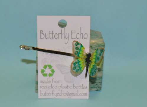 Butterfly Hair Clip -  Single - Green/Yellow/Gold Fantasy - Small