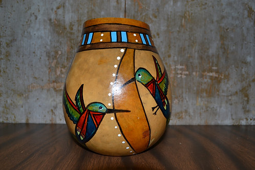 Small Hummingbirds Painted Gourd Vase