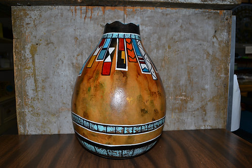 Tall Banner Painted Gourd Vase