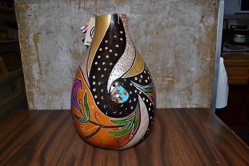 Tall Flower Painted Gourd Vase