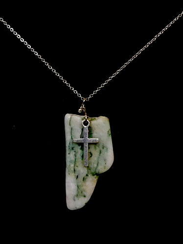 """Mariposite Necklace w A Cross Charm -  18"""" Chain"""