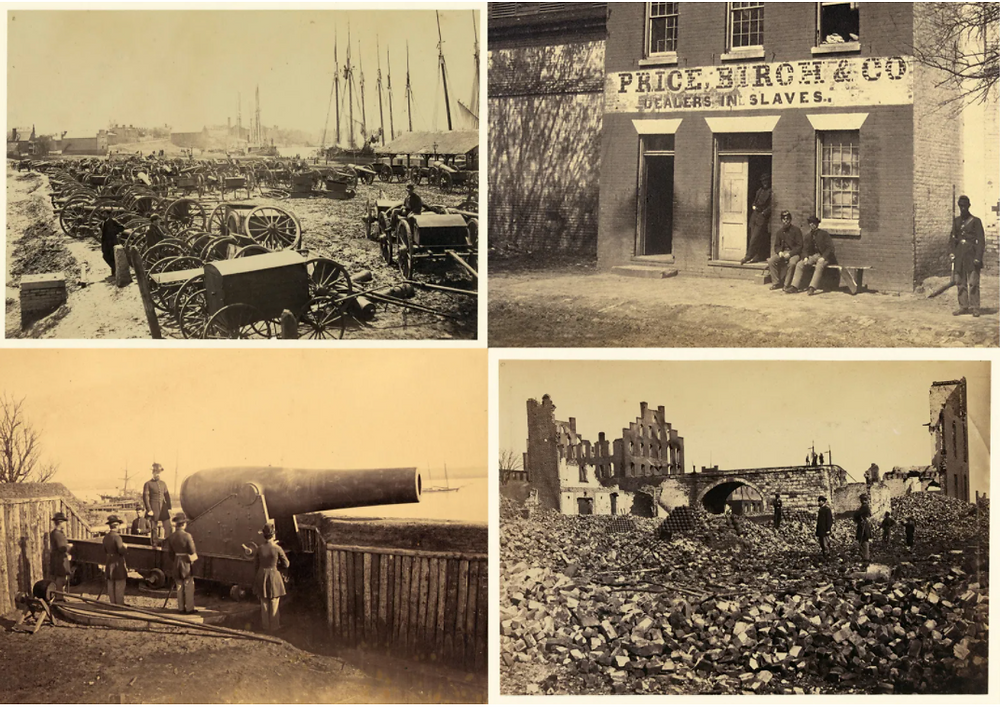 Top left: Captured guns at Richmond ready for transportation to Washington, May, 1865. Top right: Front of slave pen Price, Birch & Co., Alexandria, VA. Bottom left: Fifteen inch gun at Battery Rodgers, Alexandria, VA, May 18, 1864. Bottom right: Ruins in Richmond, VA, All photos Library of Congress