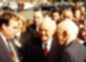 Ambassador Carey Cavanaugh, Georgia President Eduard Shevardnadze and Senator Alan Cranston at opening of US Embassy in Tbilisi