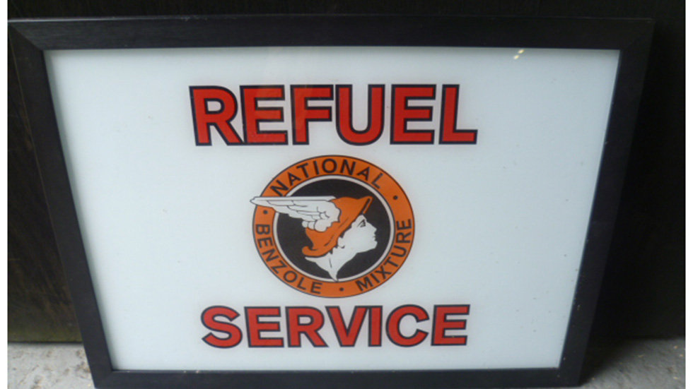 National Benzole Mixture Re-fuel Service Sign