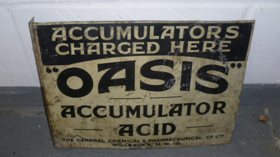 Oasis Accumulator Sign Double Sided With Flange