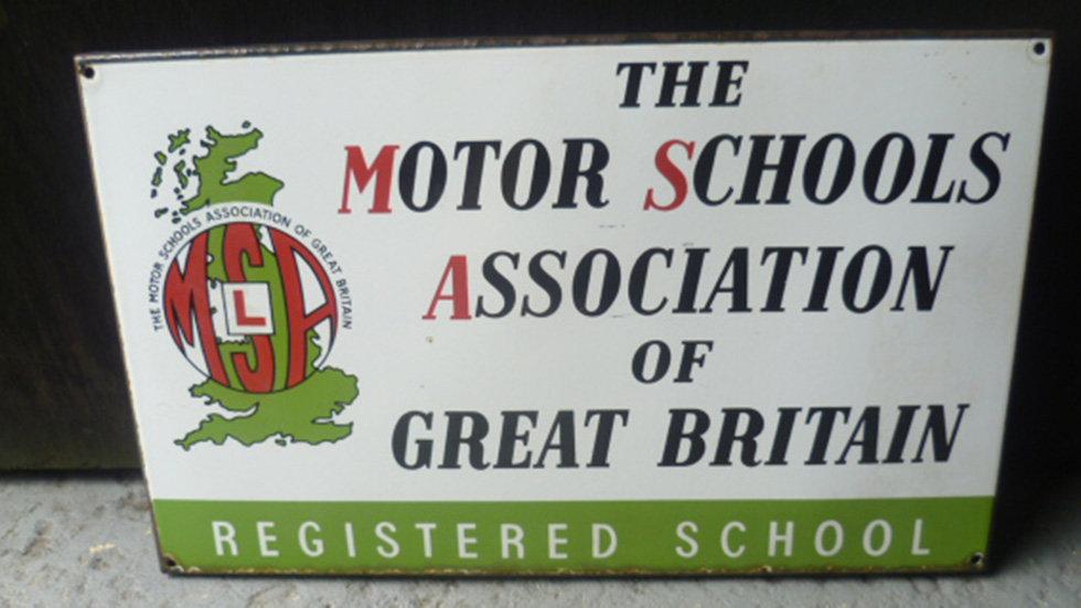 Motor School Association Enamel Sign