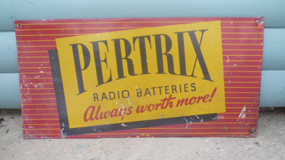 Pertrix radio batteries single sided ally sign