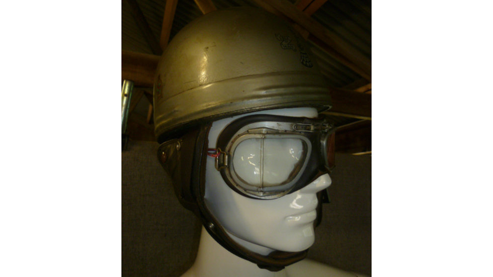 Circa 1950s Racing Helmet And Goggles