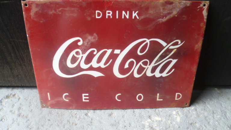 Drink Coca Cola. Red Enamel Sign.