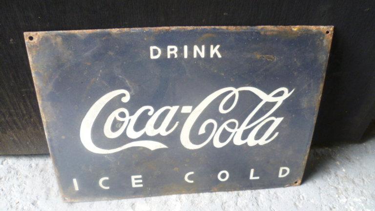 Drink Coca Cola. Black Enamel Sign