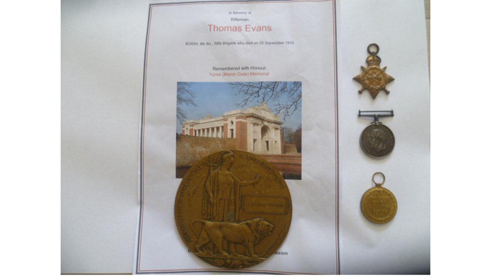WW1 Medal Trio & Memorial Plaque.
