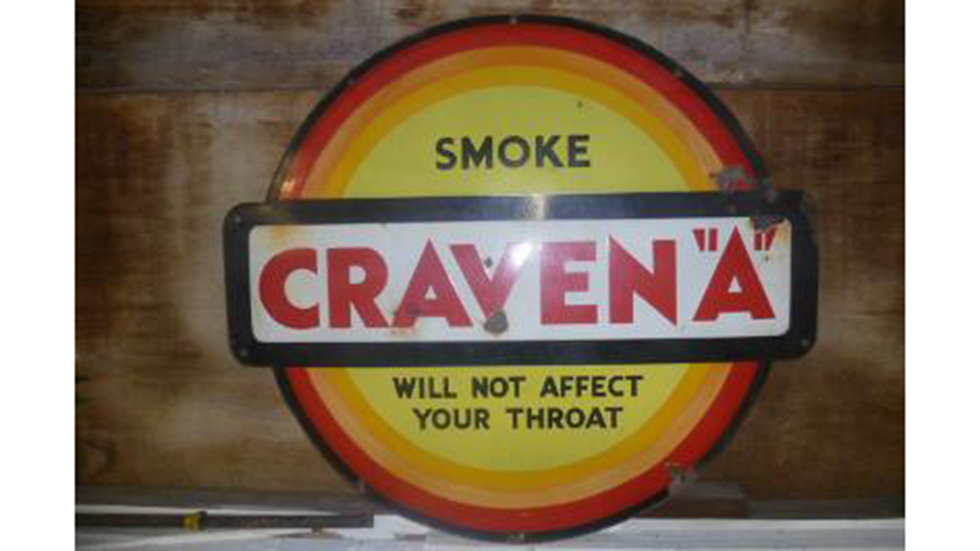 Caven A  Large Station Style Enamel Sign