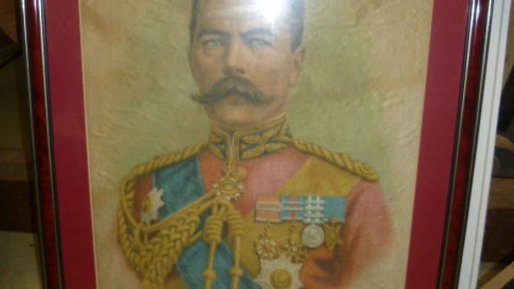 Framed Silk Picture of Field Marshal Lord Kitchener