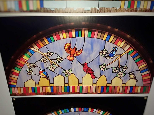 Birds Semicircle Stained Glass Windows