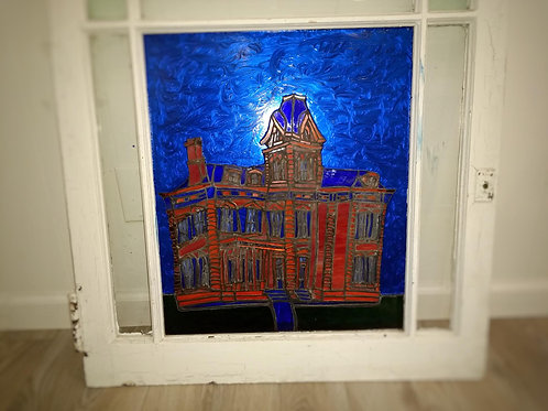 Blue Sky Courthouse Stained Glass White Frame