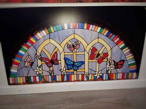 Butterfly Semicircle Stained Glass Window