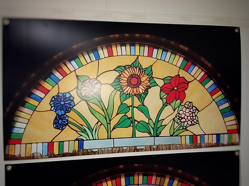 Flowers Semicircle Stained Glass Window