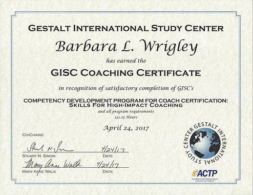 Coaching Certificate Barbara Wrigley