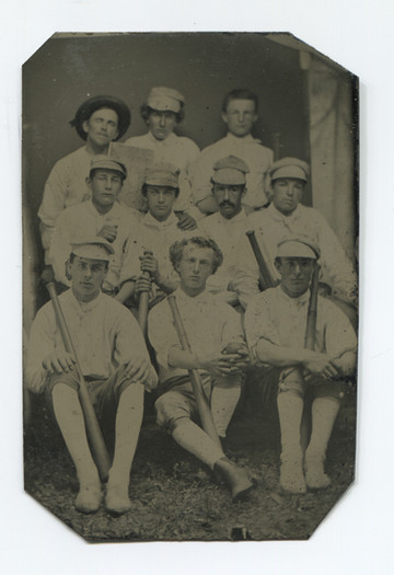 """Important tintype of Cap Anson with his team. This exact tintype is documented in Ken Burns, 1st Inning, video series. No case. 19th century. H 3-5/8"""", W 2-3/8""""."""