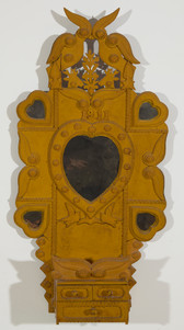 Tramp Art Wall Mirror - Chest Dated 1911