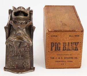 Pig in Chair Bank - original box - J & E Stevens