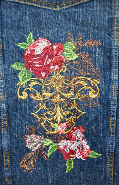 Rose Crest on Jean Jacket