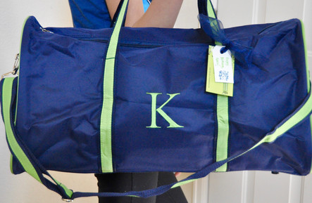 Navy and Green Duffel