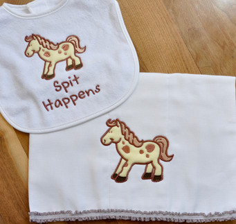 Horsey Bib and Cleanup Cloth