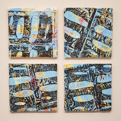 West 54th Street (4) each 12x12 mixed media on wood panels 2020