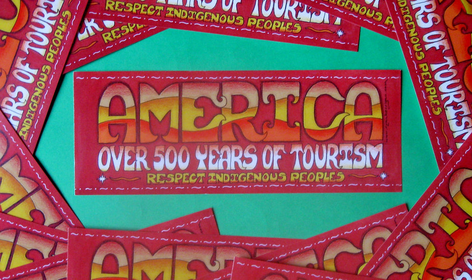 america: over 500 years of tourism sticker