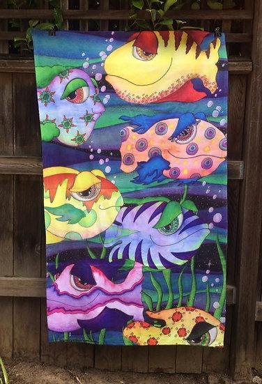 happy fish aquarium beach towel