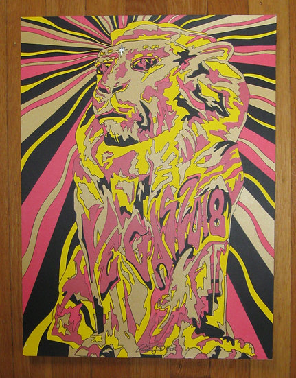 2018 vegas lion silkscreened poster